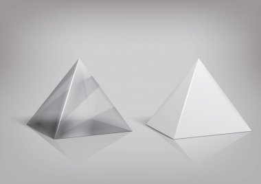 White and transparent pyramid package