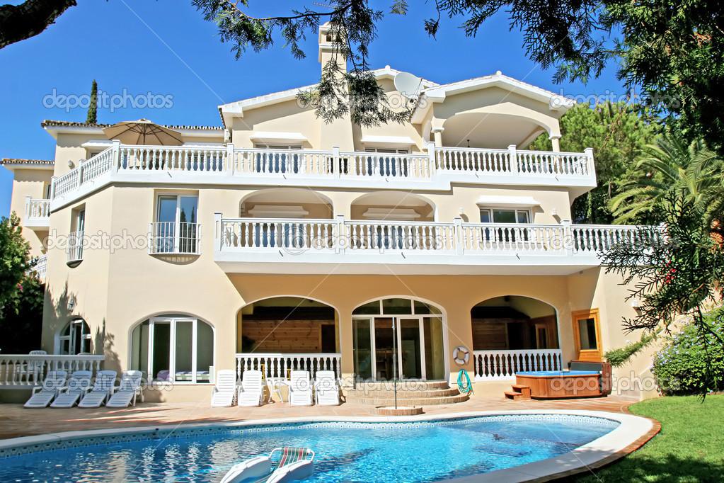 Exterior Of Large Luxury Villa On The Costa Del Sol In Spain Stock Photo
