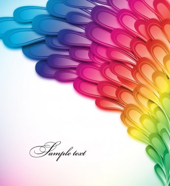 Rainbow floral retro card design. Vector