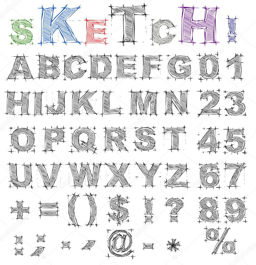 Sketch Design Alphabet Vector Stock