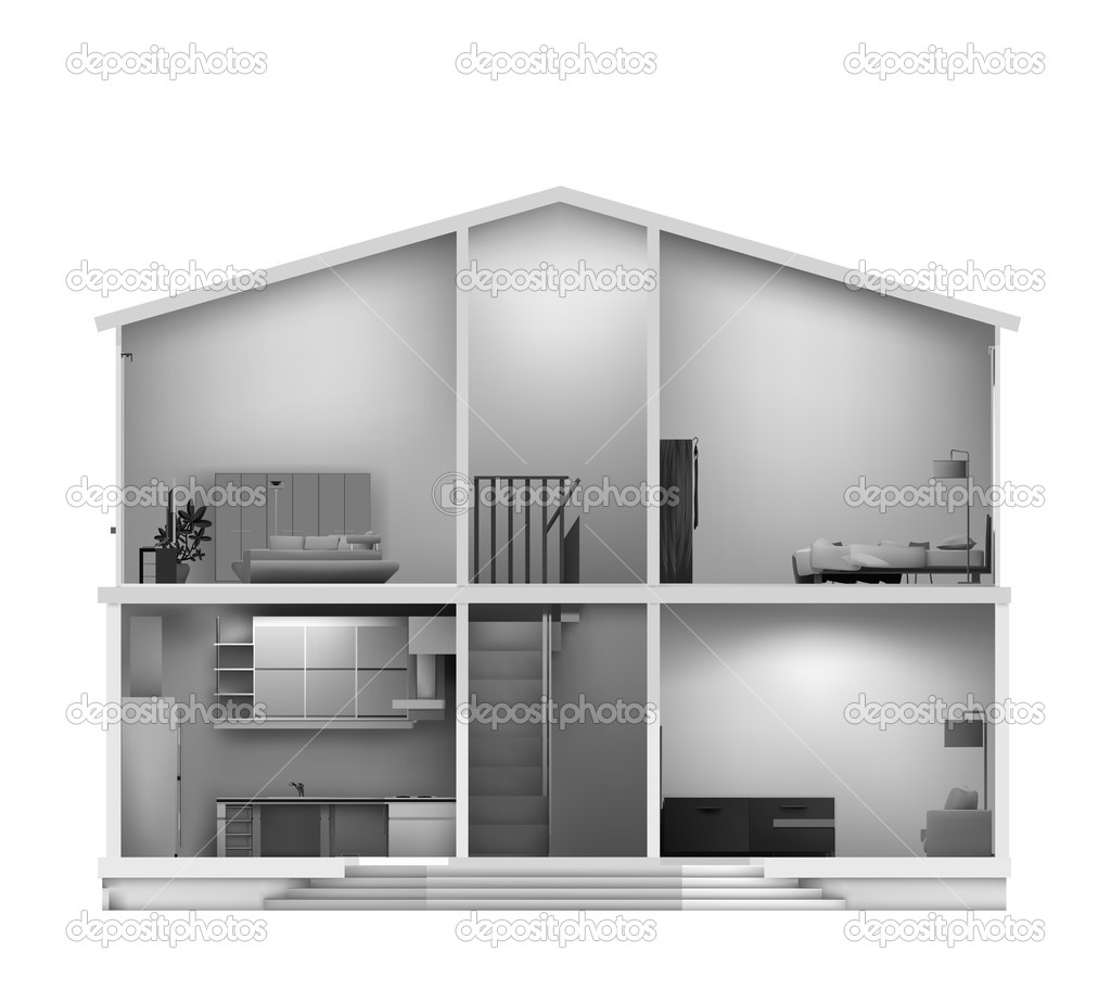 Haus Schnitt mit Interieur. Vektor — Stockvektor © emaria #5441036