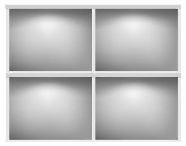 White bookshelf. Vector