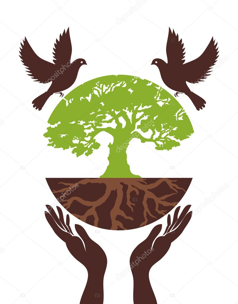 Eco Tree with bird and hand. Vector