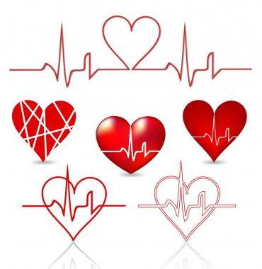 Set hearts beats graph. Vector illustration on white stock vector