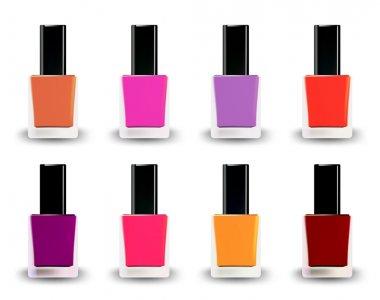Bottles of nail polish in various shades. Vector