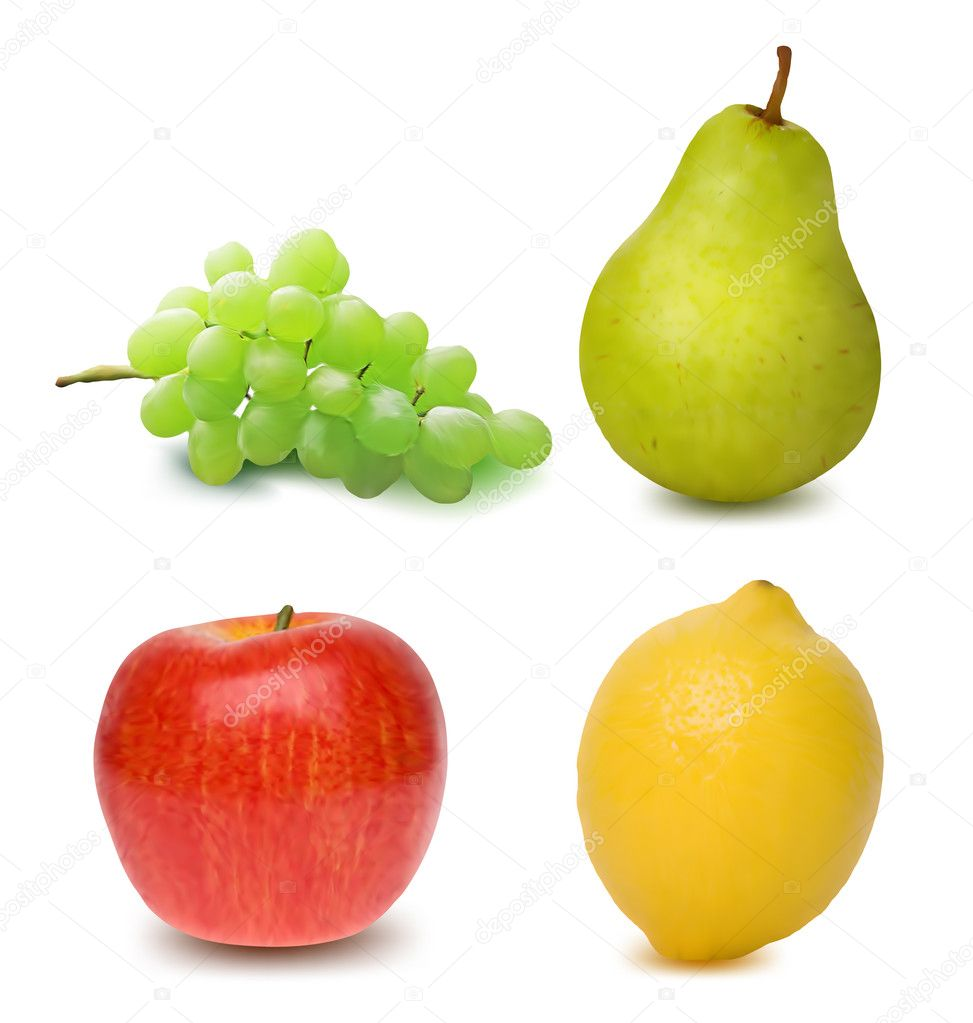 Colorful Fresh Fruits. Vector