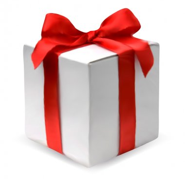 Present box with red bow. Vector