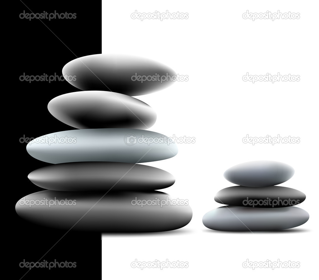 Yin Yang Pebble Stacks. Vector