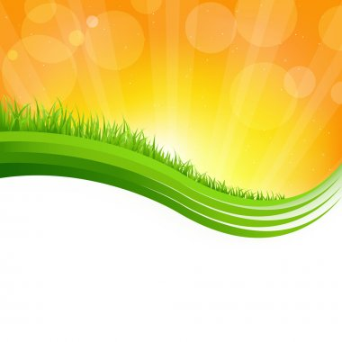 Shiny Background With Green Grass, Vector Illustration clip art vector