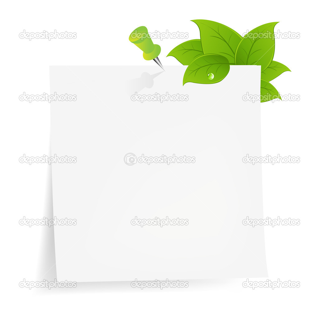 Blank Note Paper With Green Leaf