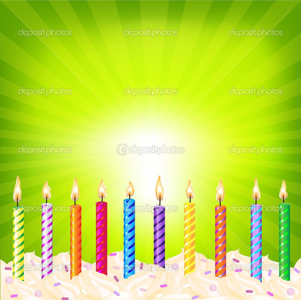 Birthday Candles On Green Background Stock Vector