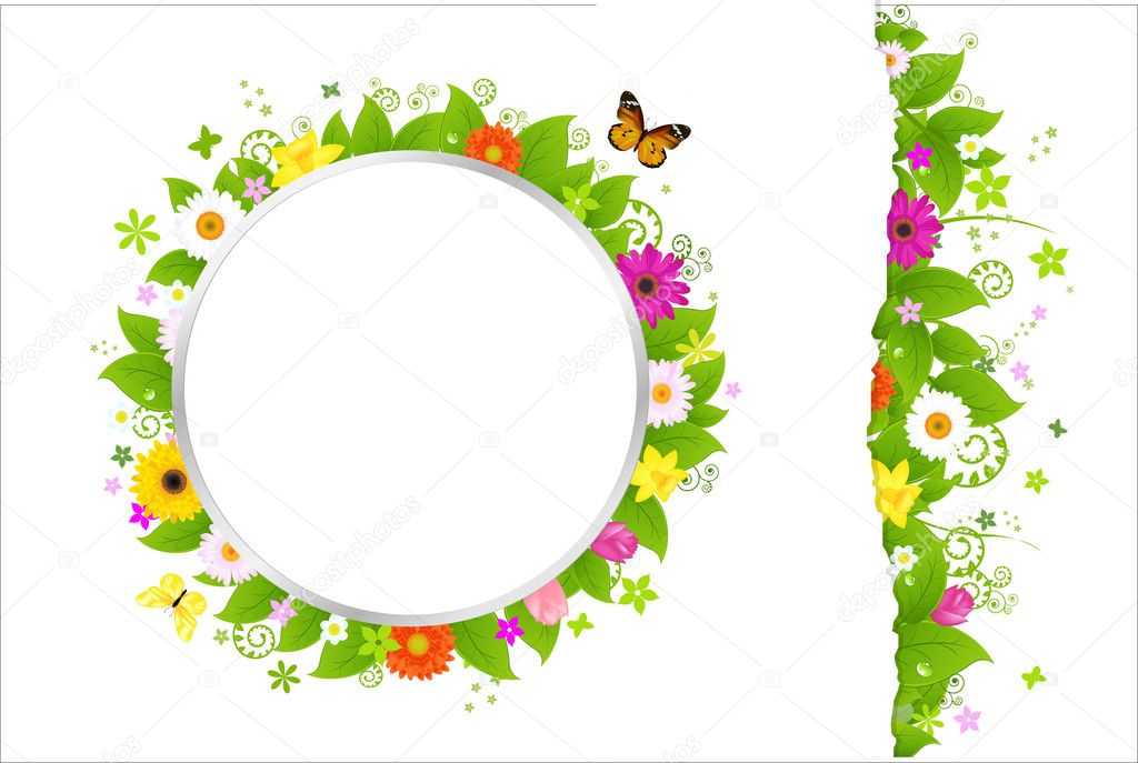 círculo y frontera de flores — Vector de stock © adamson #5650666