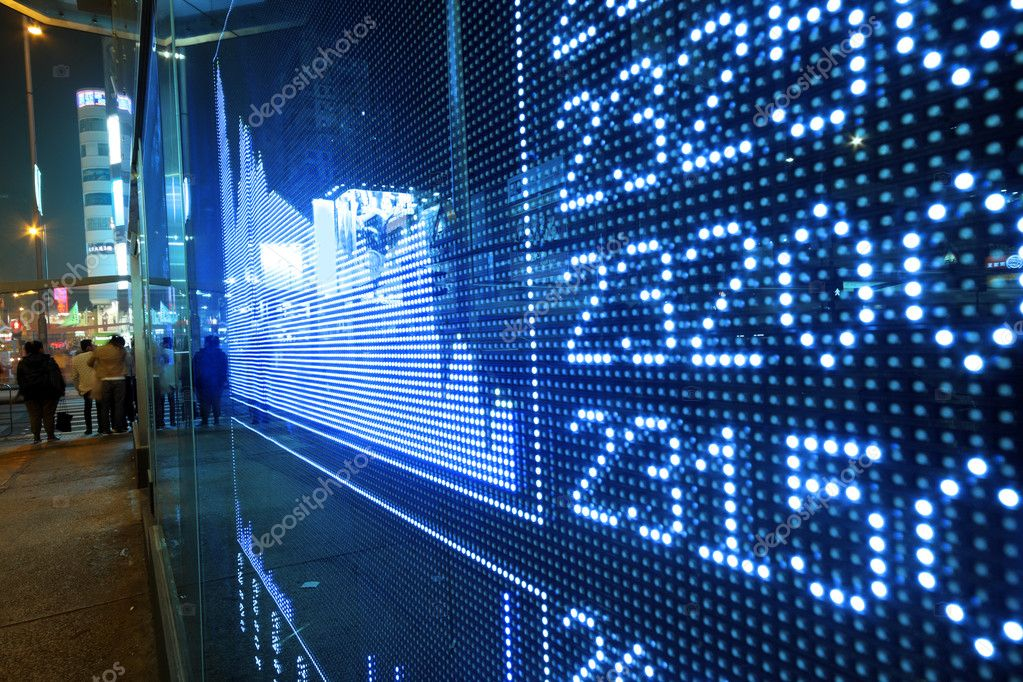 Stock ticker board at the stock exchange — Stock Photo ...