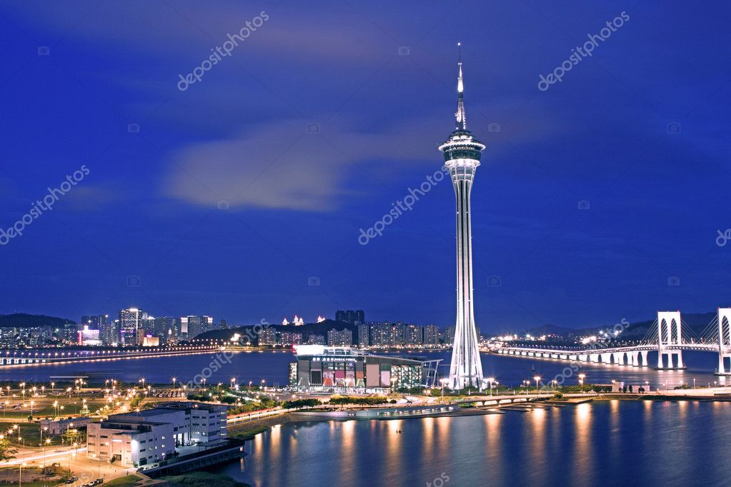 Urban landscape of Macau with famous traveling tower under sky n