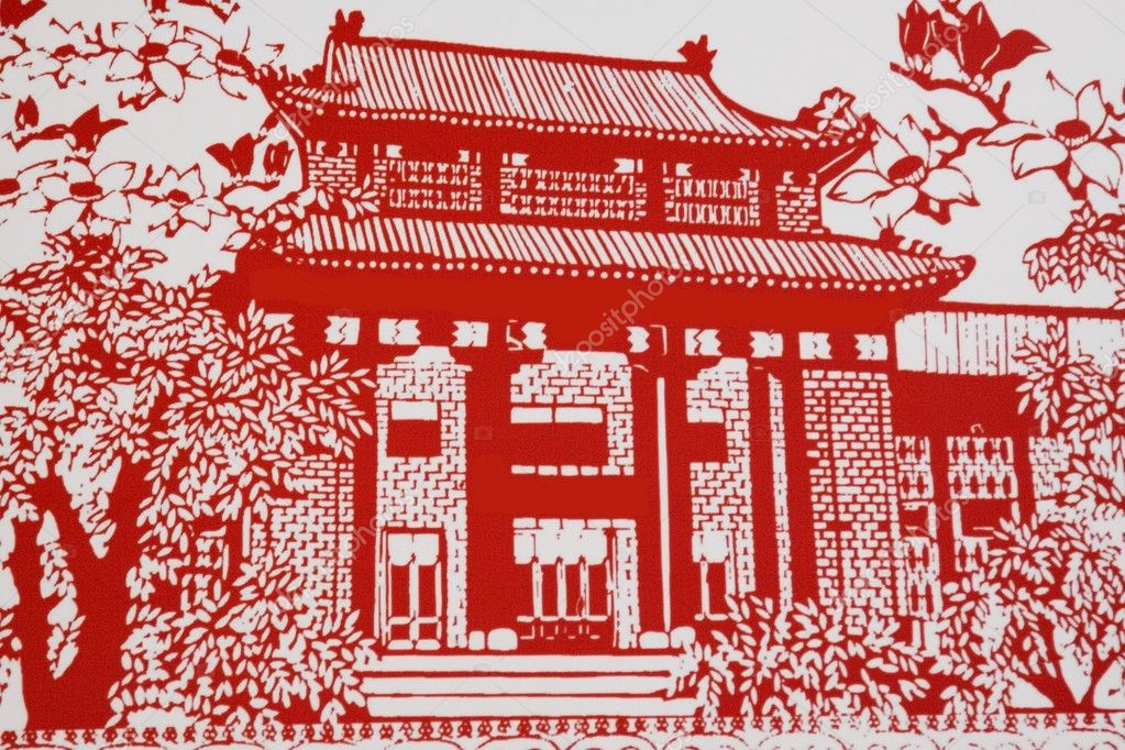 House,This is a picture of the Chinese paper cutting. Paper-cutt