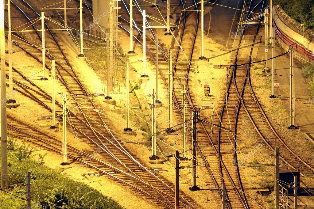 Train tracks in hongkong by night.