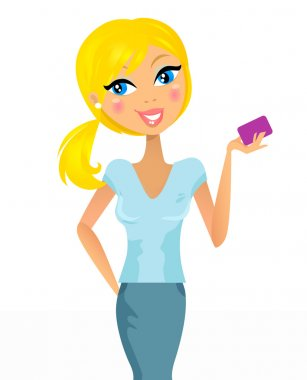 Cute blond hair girl with credit / customer card - isolated on w