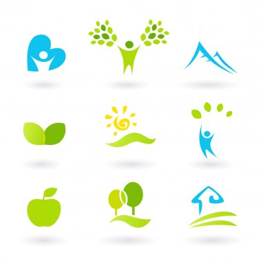 Nature, landscape, and organic Icons and Symbols - green