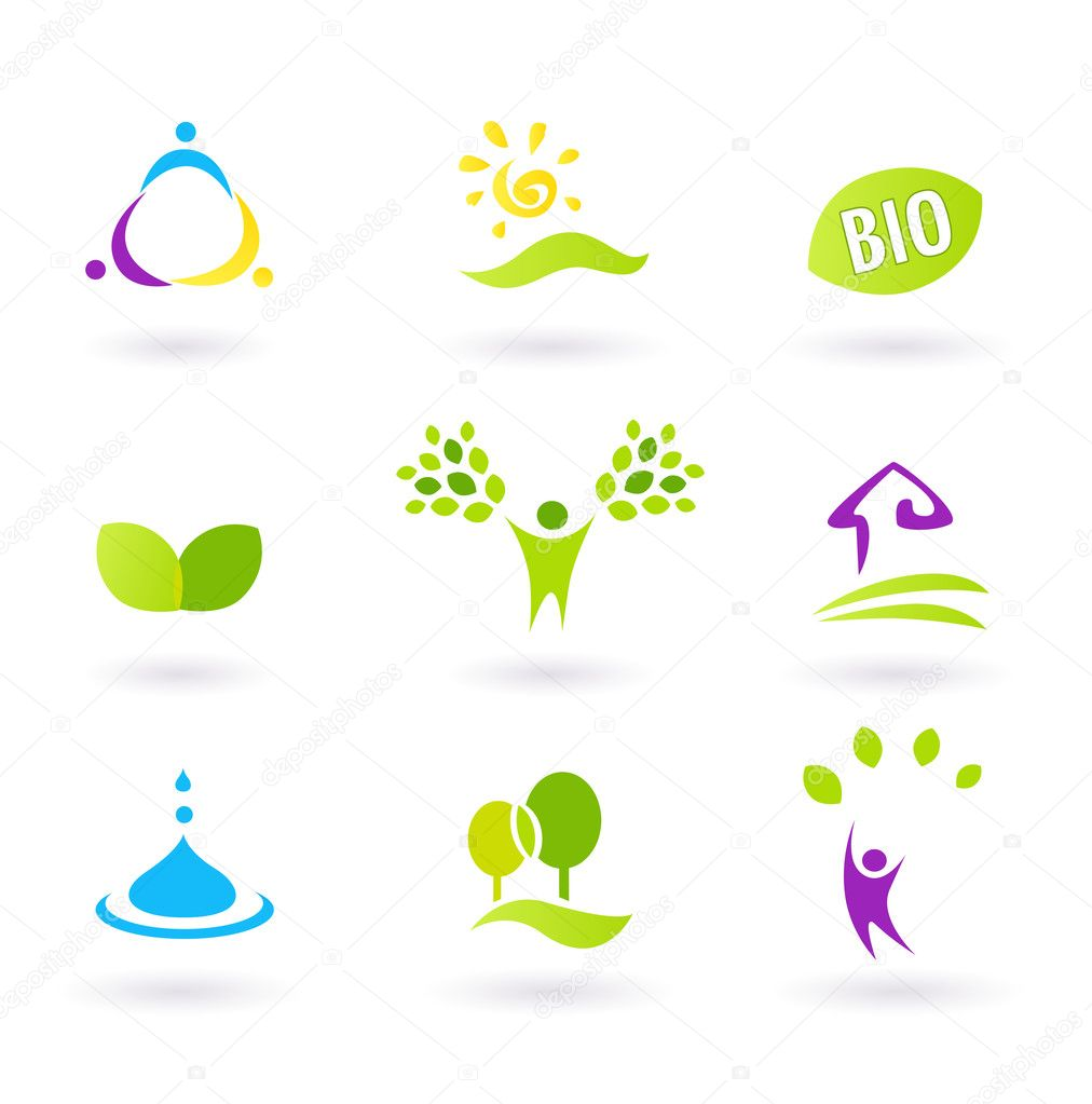 Ecology & nature friendly BIO icons set - green, yellow,