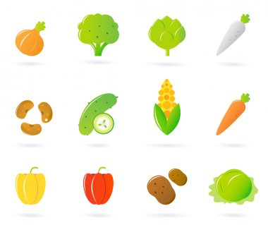 Vegetable food icons collection isolated on white