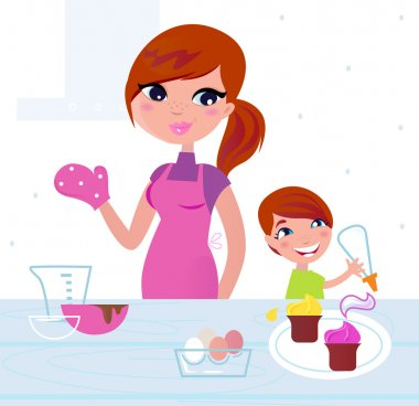 Happy mother with her son cooking in the kitchen