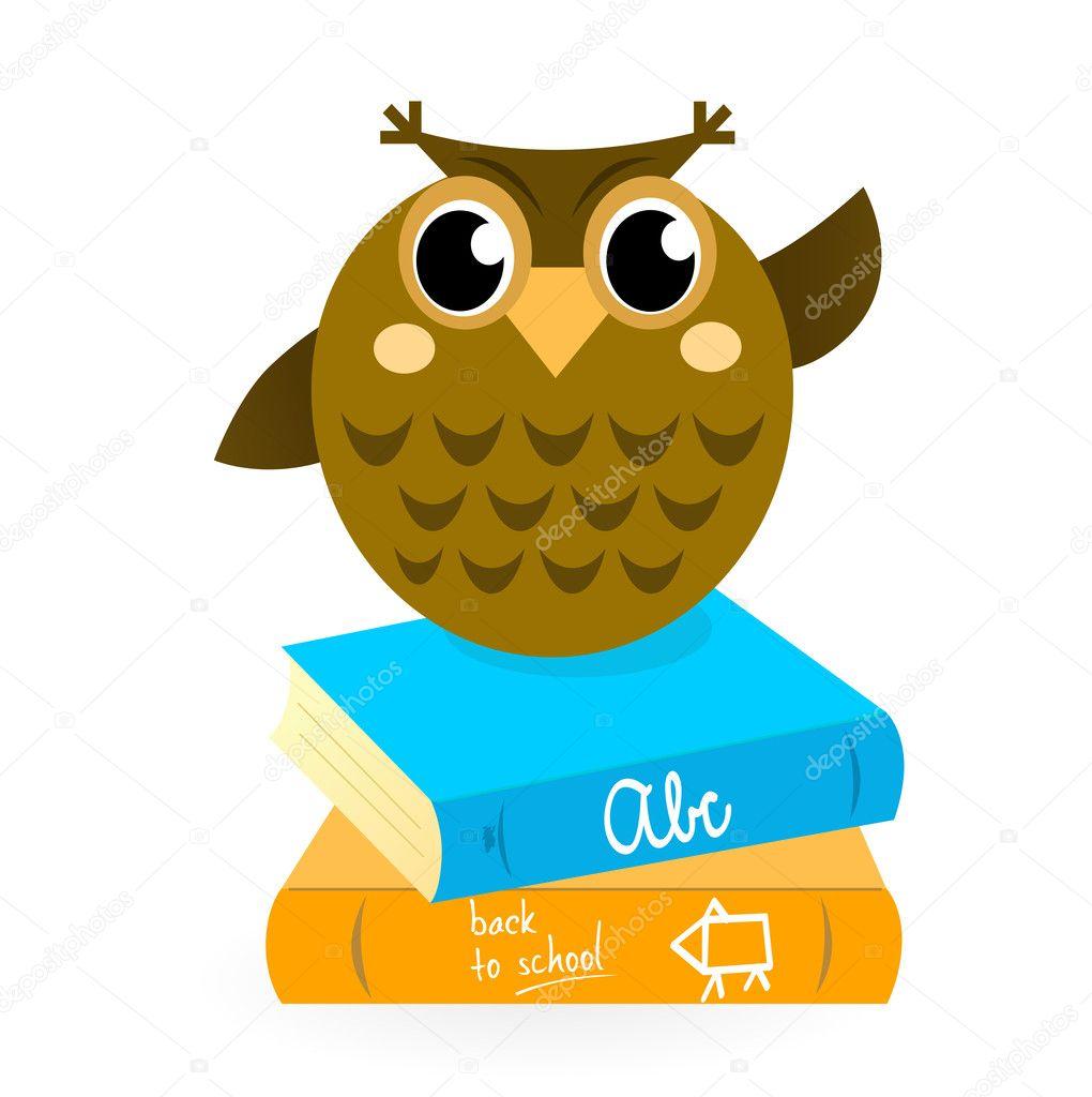 Скачать картинку сова с книгами