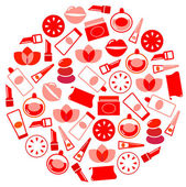 Fényképek Wellness and cosmetics icons circle isolated on white ( red )
