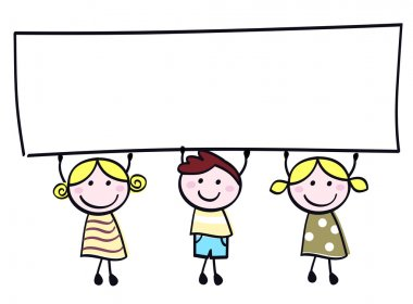 Cute doodle children holding blank banner sign isolated on white