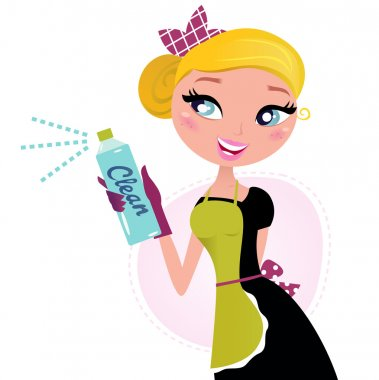 Housewife - french retro Maid with cleaning spray.