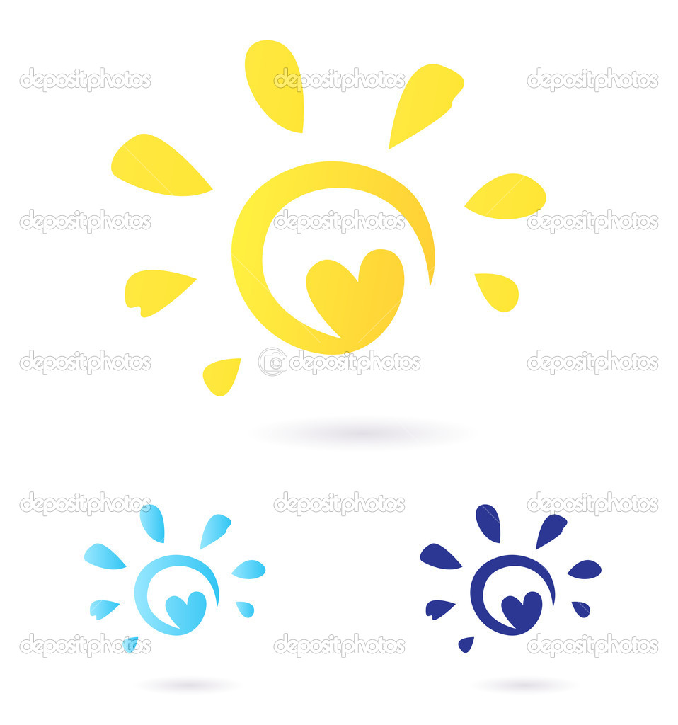 Abstract vector Sun icon with Heart - yellow & blue, isolated o