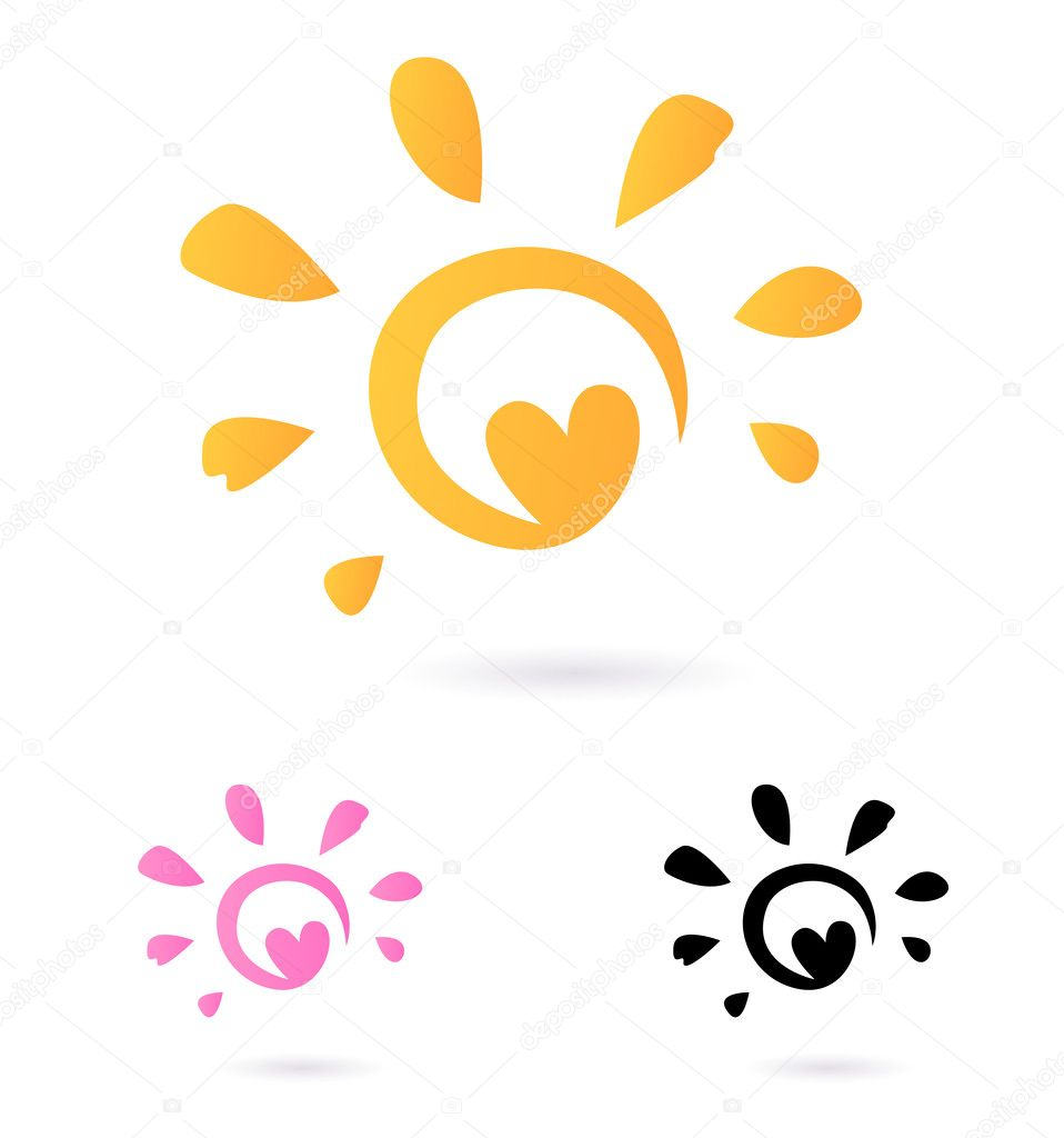 abstract vector sun icon with heart orange pink isolated o rh depositphotos com Free Mountain Vector Free Vector Flowers
