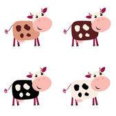 Aranyos tehén településen 4 különböző színű elszigetelt fehér background