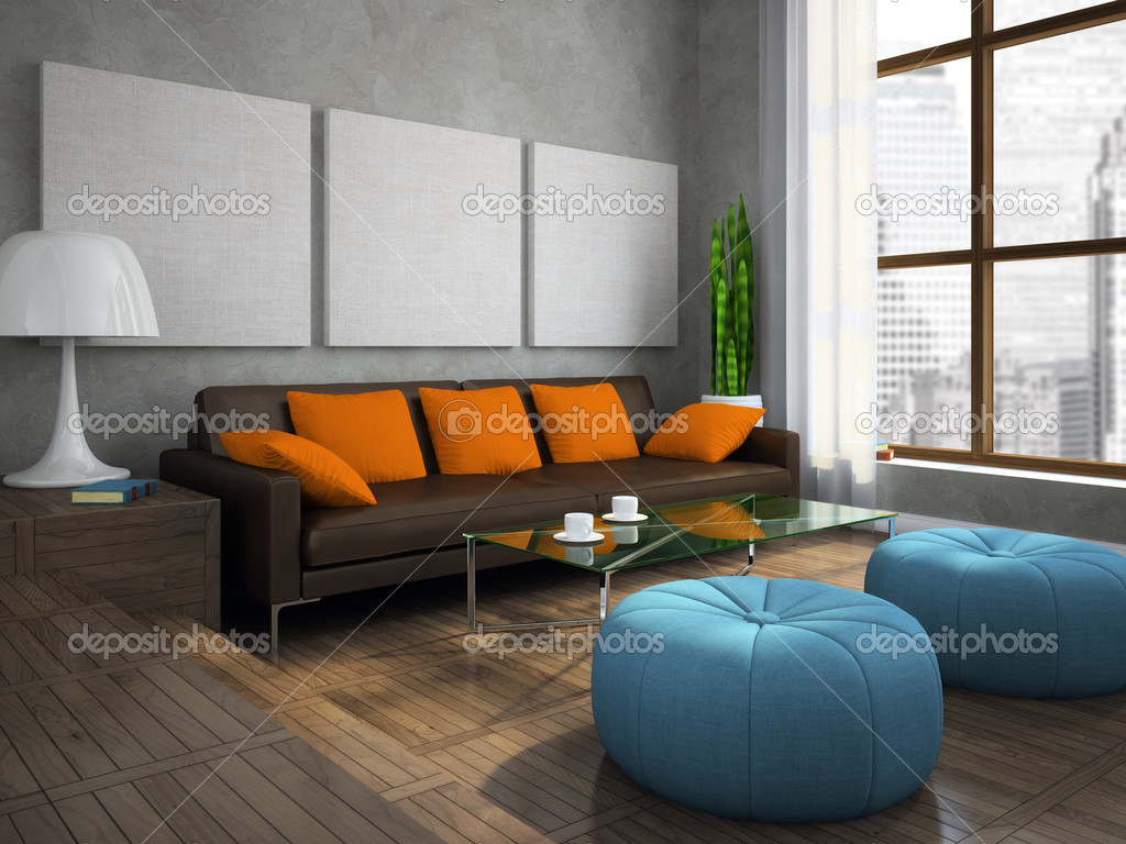 Part Of The Modern Living Room With Blue Ottomans Stock