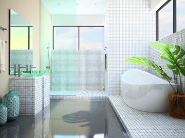 Modern interior of the white bathroom 3D
