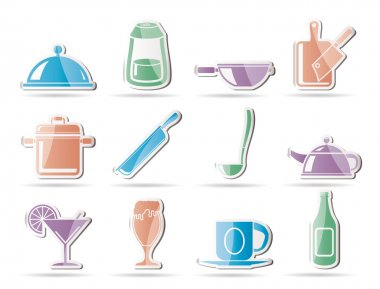 Restaurant, cafe, food and drink icons
