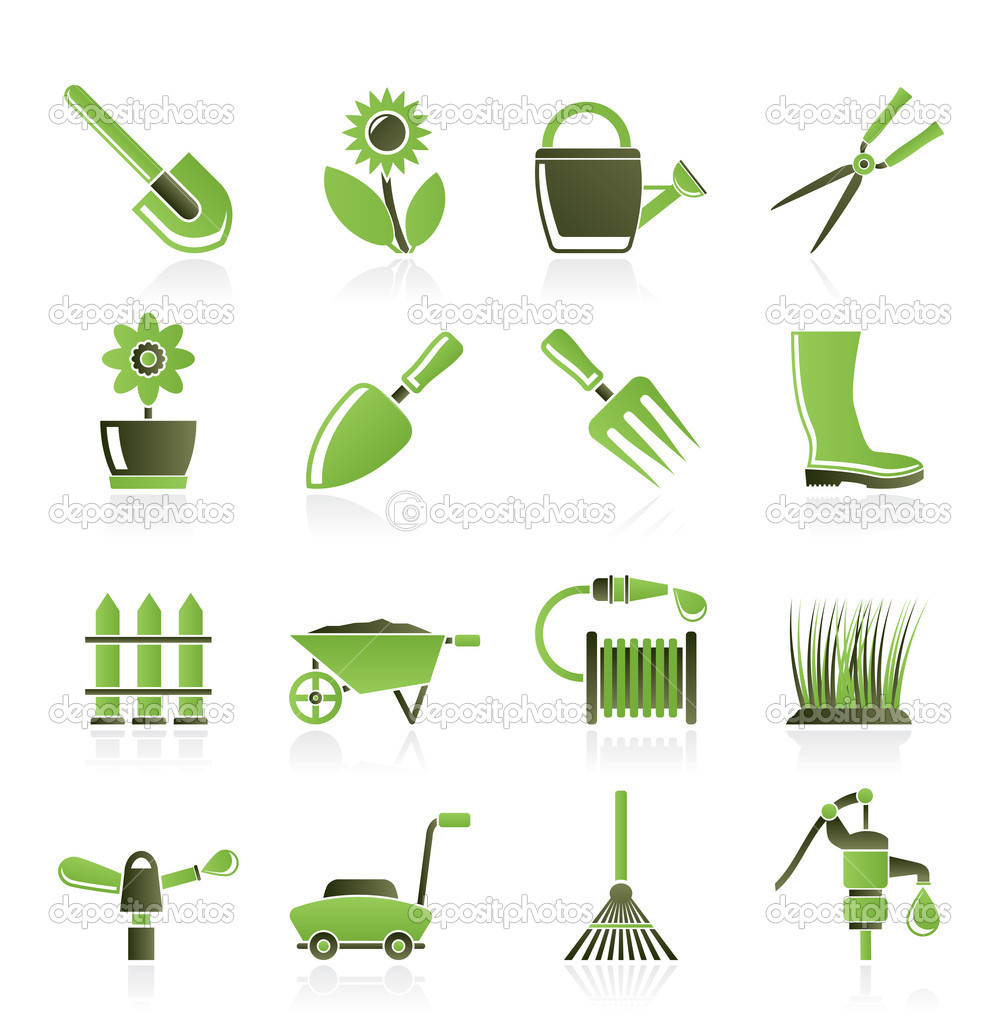Garden and gardening tools and objects icons stock for Gardening tools list 94