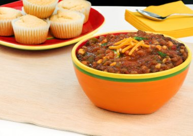 Large, colorful bowl of vegetarian chili