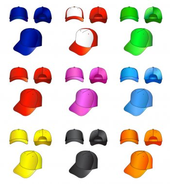 Multicolored caps vector illustration