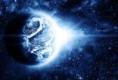 krásná sunriece na rudou planetu v prostoru