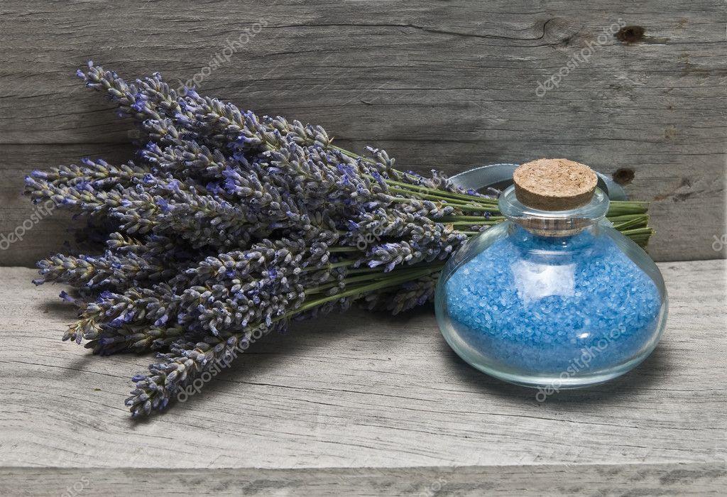 Fresh lavender and bath salts.