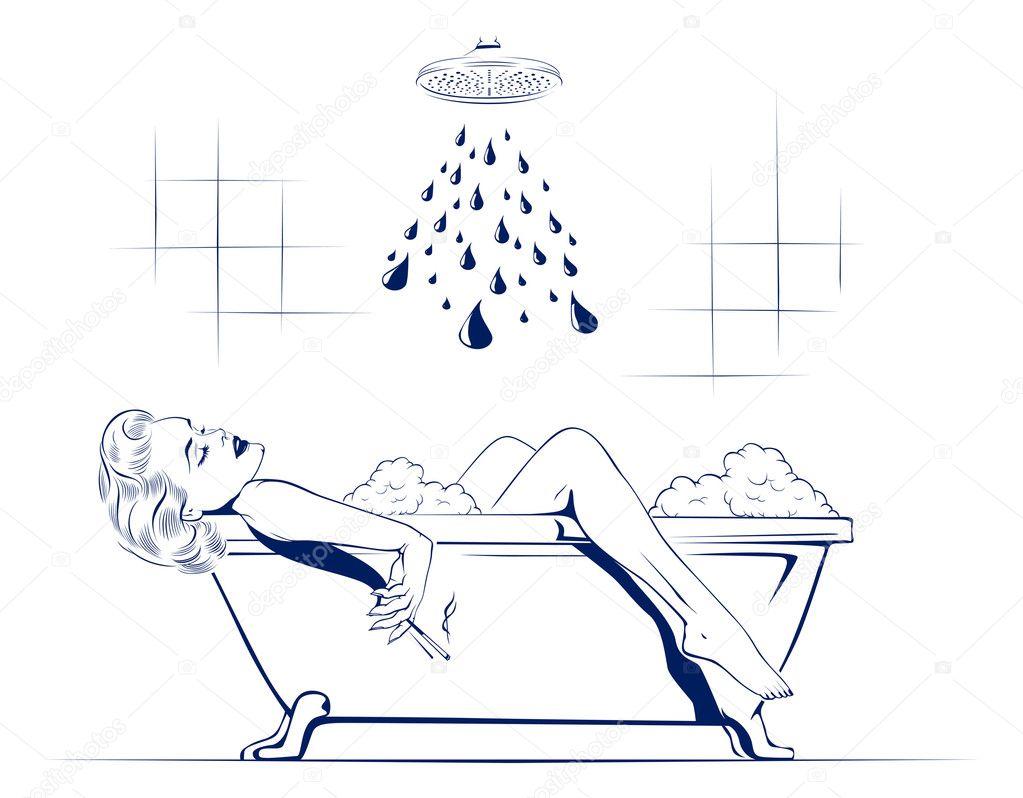 schönheit frauen entspannen im badezimmer mit zigarette, Badezimmer ideen