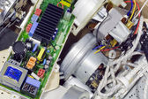 Broken electronics on garbage dump