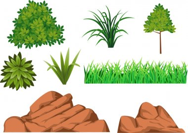 Green grass and rock stock vector
