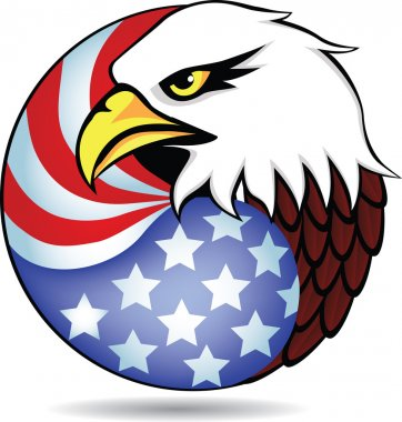Vector eagle head and American flag