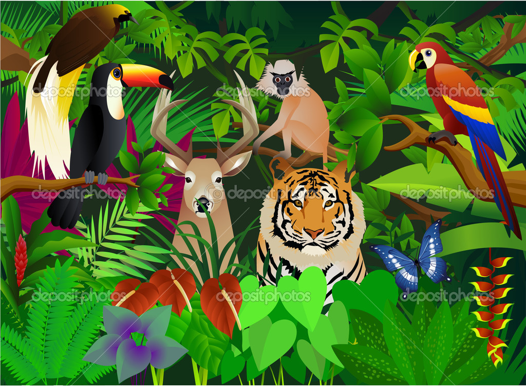 Stock Illustration Wild Animal In The Jungle on Cute Preschool Clip Art