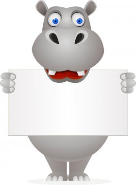 Cute hippo and blank sign