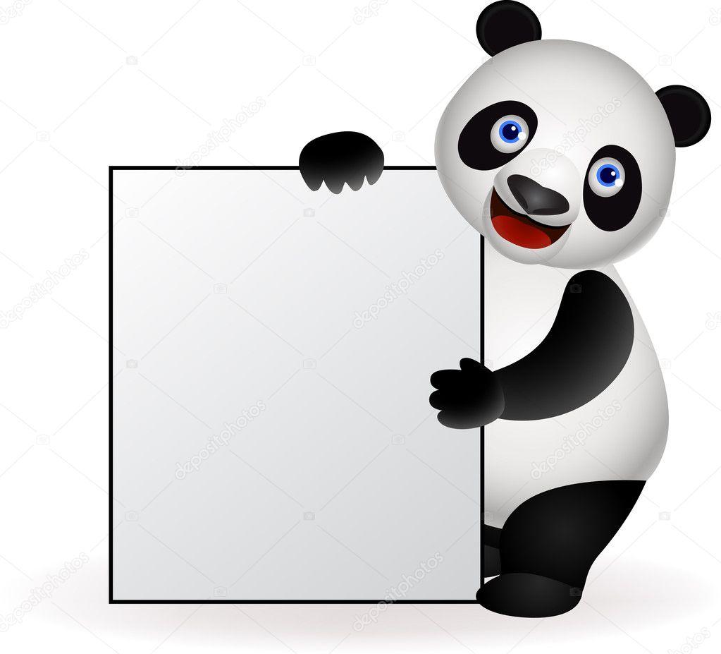 Cute panda and blank sign
