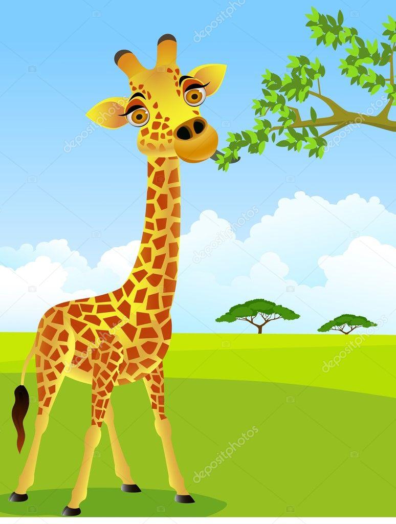 Giraffe cartoon — Stock Vector © dagadu #5859280