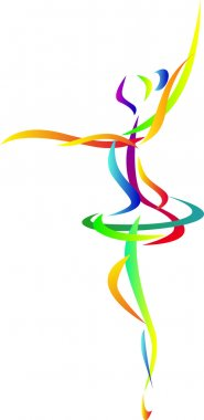 Abstract ballet dancing silhouette