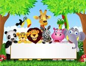 Photo Animal cartoon and blank signboard